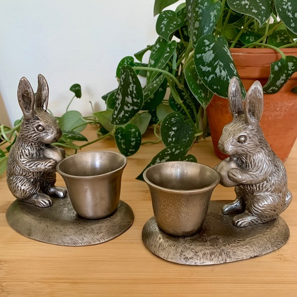 Pottery Barn Other - Pottery Barn Pewter Rabbit Candlestick Holders